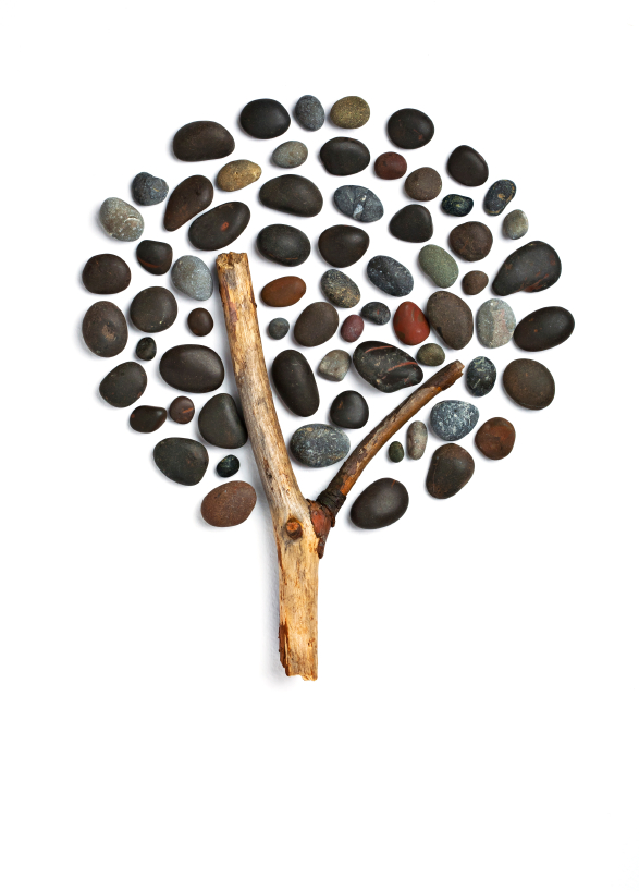 tree from stones and stick